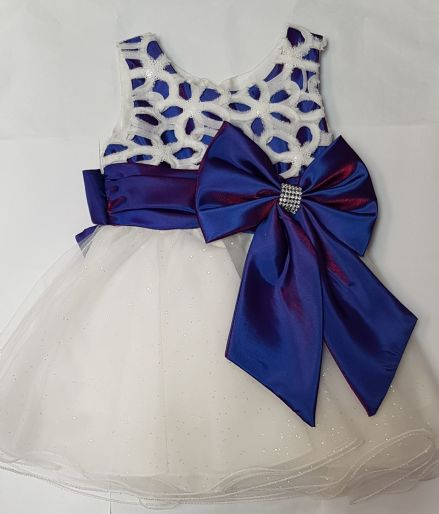 Girls White Cadbury Bow Occasion Dress